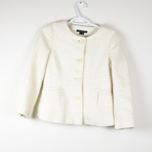 Theory White Tweed Button Up Jacket Blazer 6